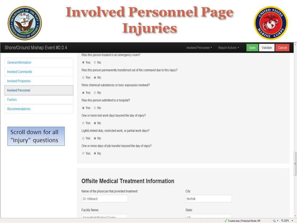 Involved Personnel Page Injuries