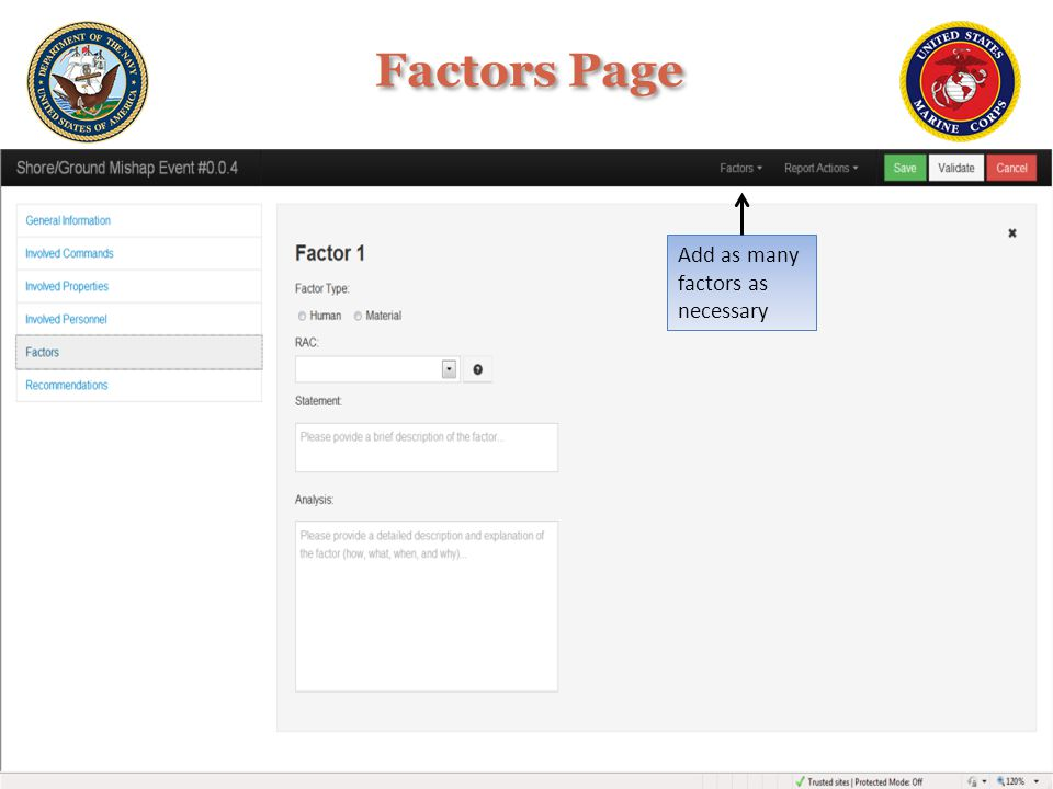 Factors Page Add as many factors as necessary