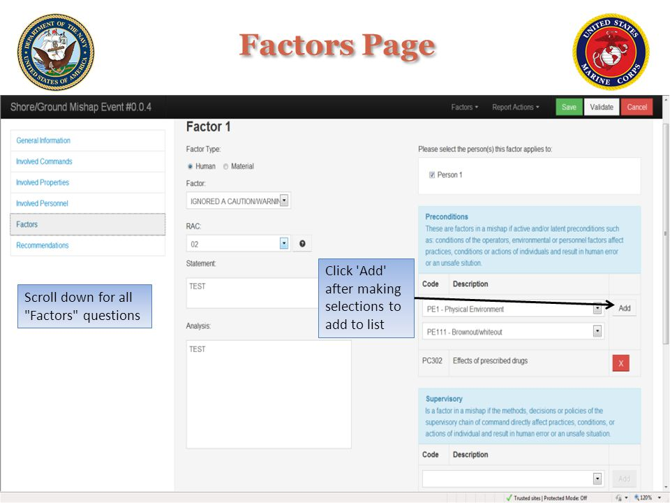 Factors Page Click Add after making selections to add to list