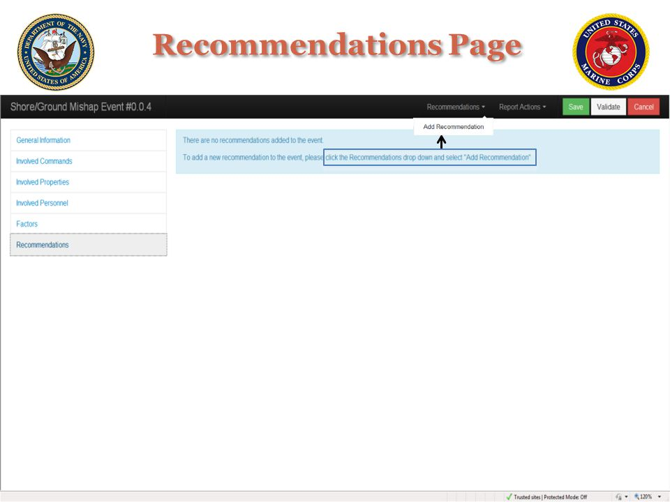 Recommendations Page