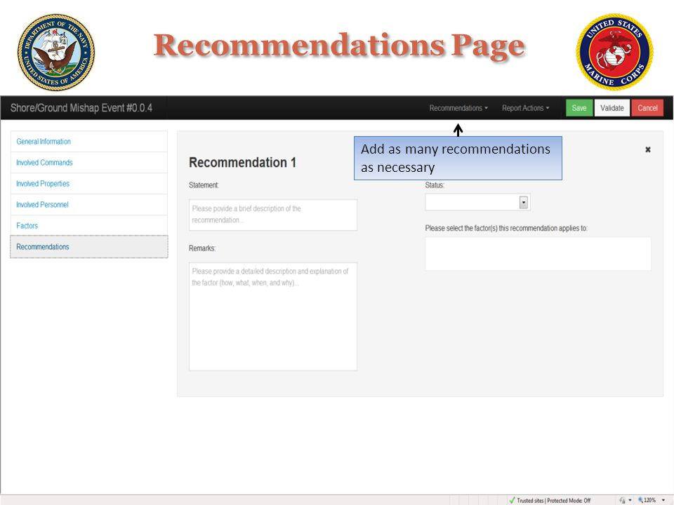 Recommendations Page Add as many recommendations as necessary