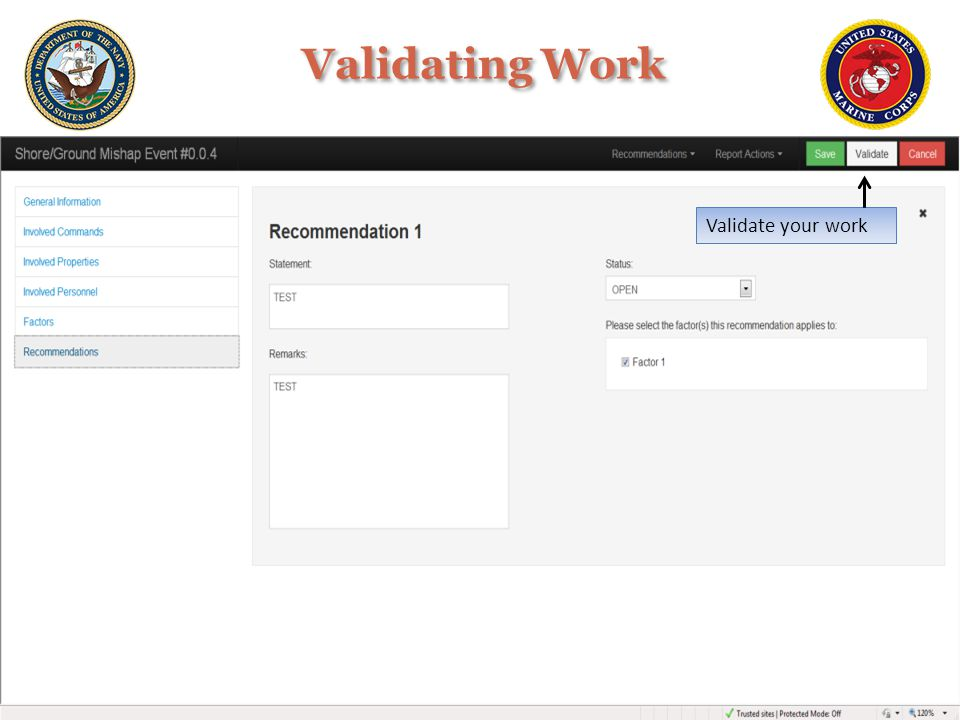 Validating Work Validate your work