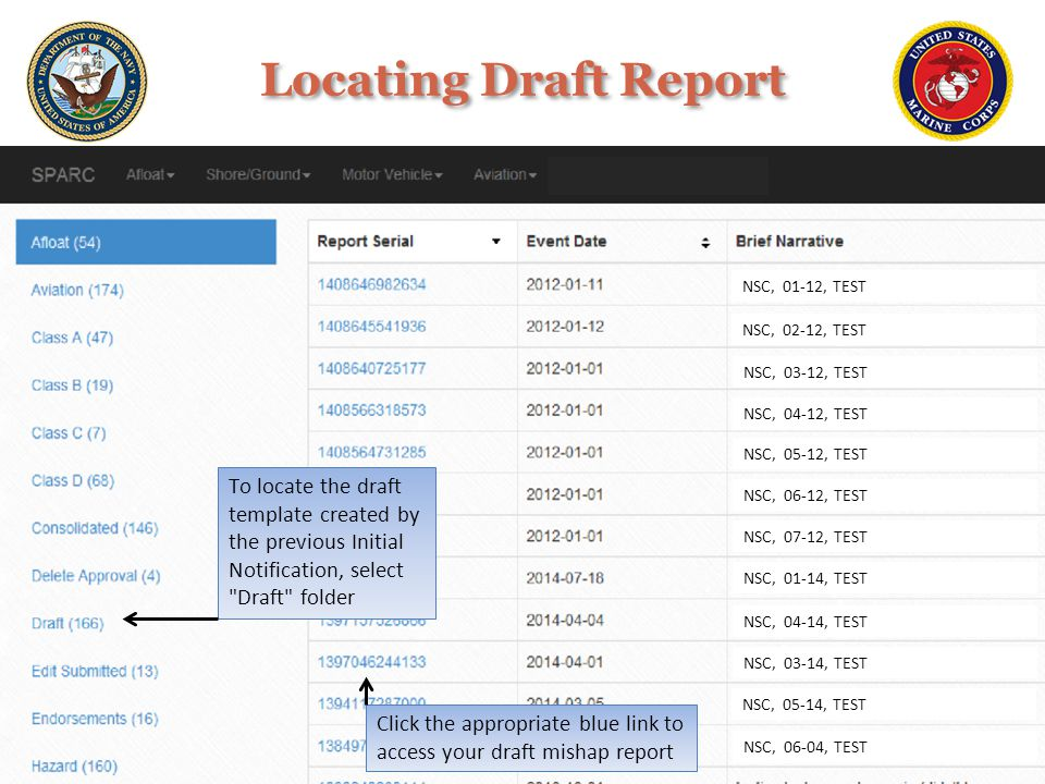Locating Draft Report NSC, 01-12, TEST. NSC, 02-12, TEST. NSC, 03-12, TEST. NSC, 04-12, TEST.