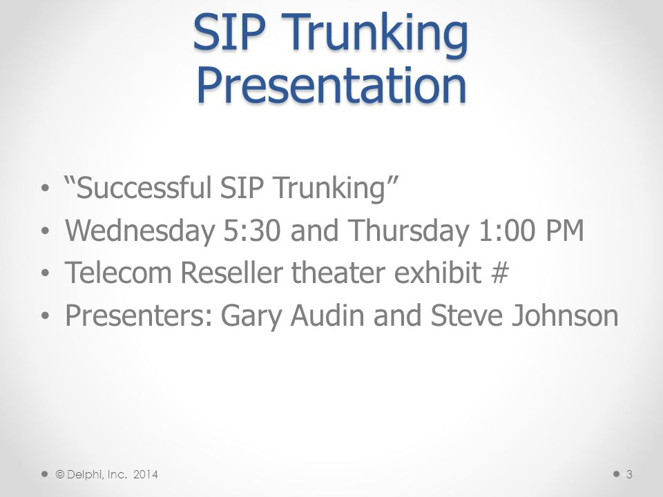 SIP Trunking Presentation