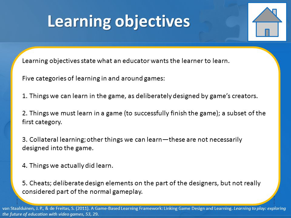 Learning objectives Learning Instruction Assessment