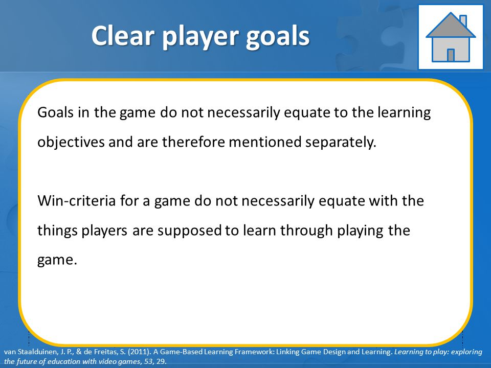 Clear player goals Goals in the game do not necessarily equate to the learning objectives and are therefore mentioned separately.