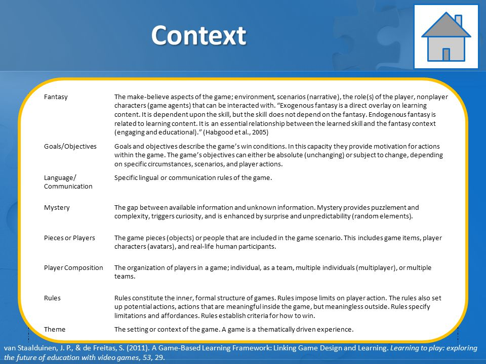 Context Learning Instruction Assessment GAME ELEMENTS: GAME ELEMENTS: