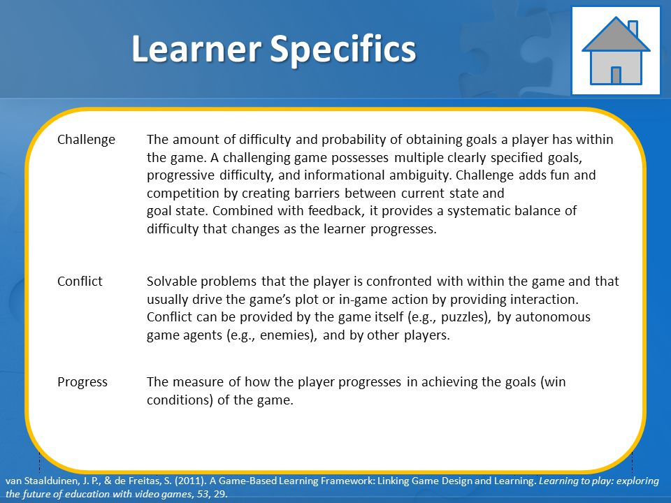 Learner Specifics Learning Instruction Assessment GAME ELEMENTS: