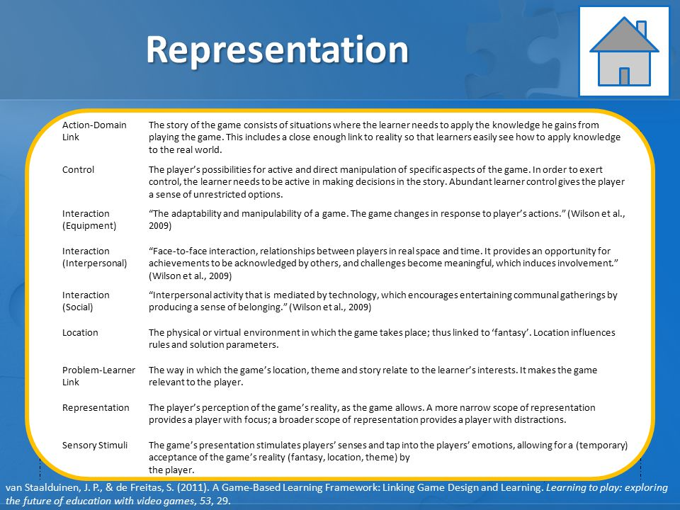 Representation Learning Instruction Assessment GAME ELEMENTS: