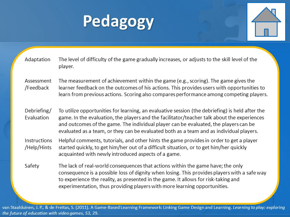 Pedagogy Learning Instruction Assessment GAME ELEMENTS: GAME ELEMENTS:
