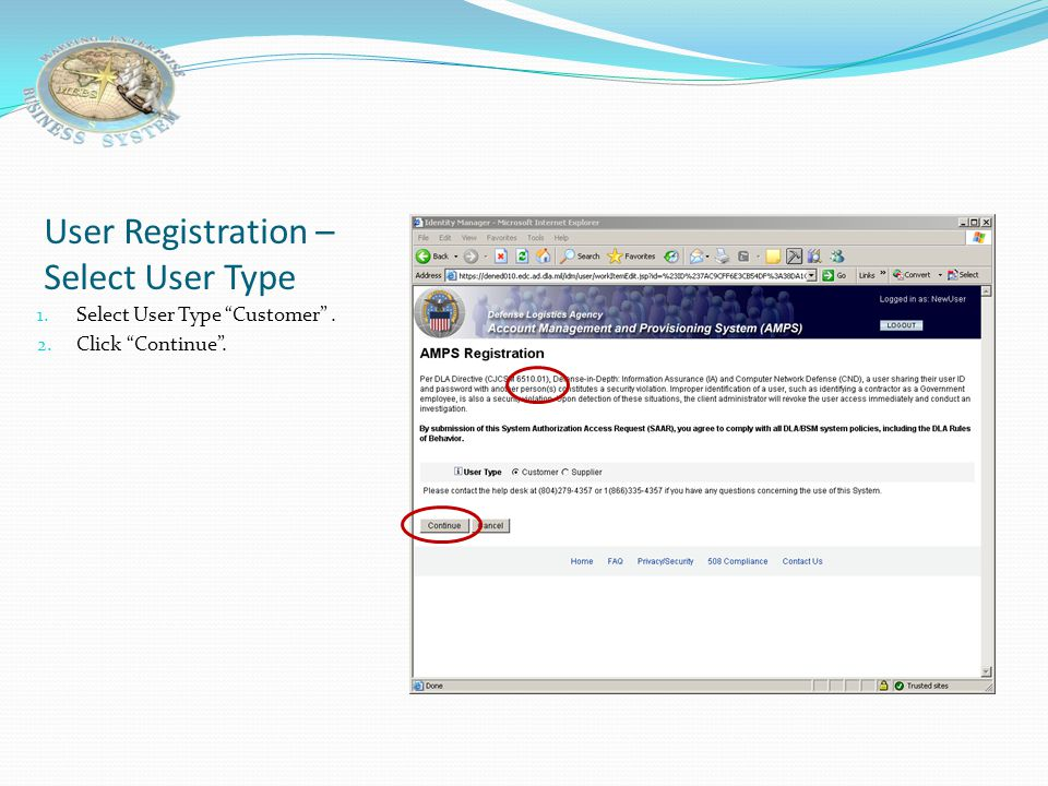 User Registration – Select User Type