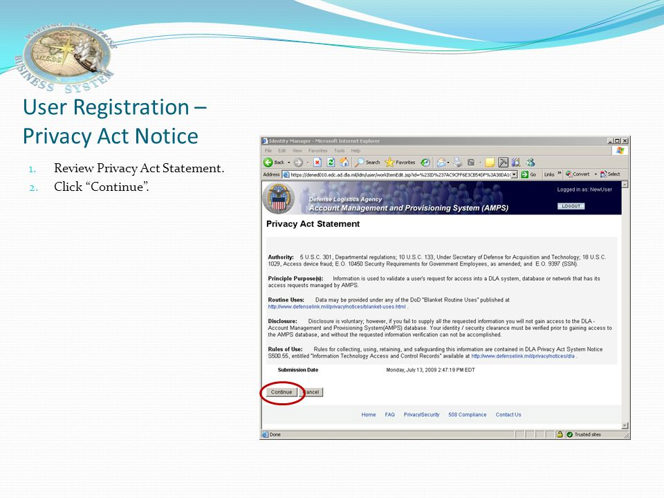 User Registration – Privacy Act Notice