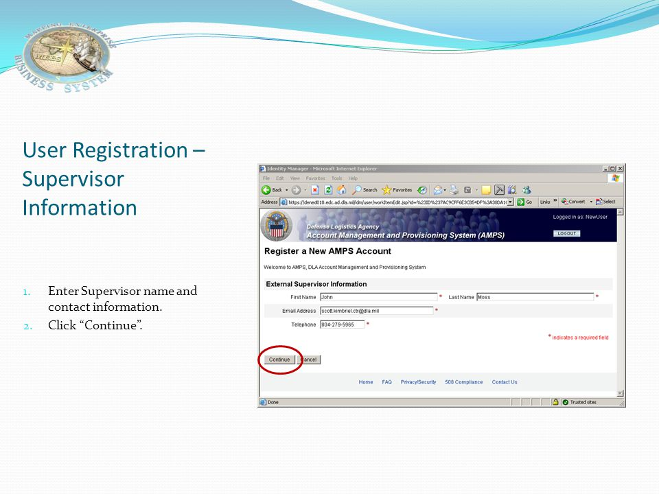User Registration –Supervisor Information