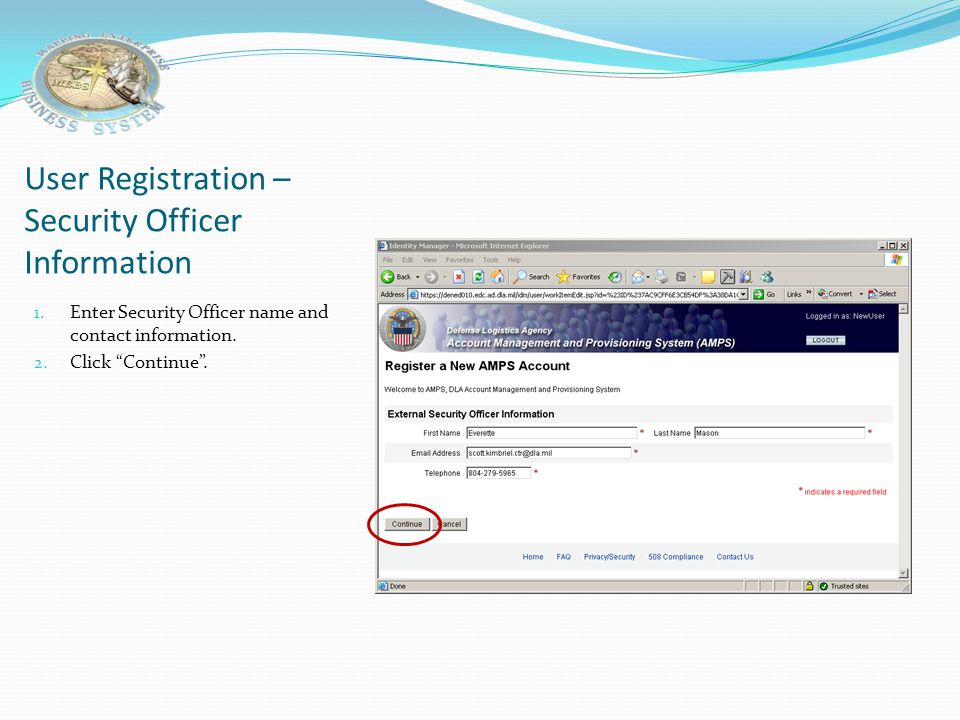 User Registration –Security Officer Information