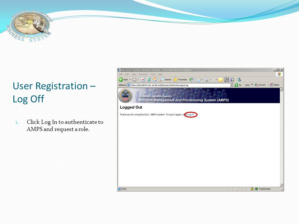 User Registration – Log Off