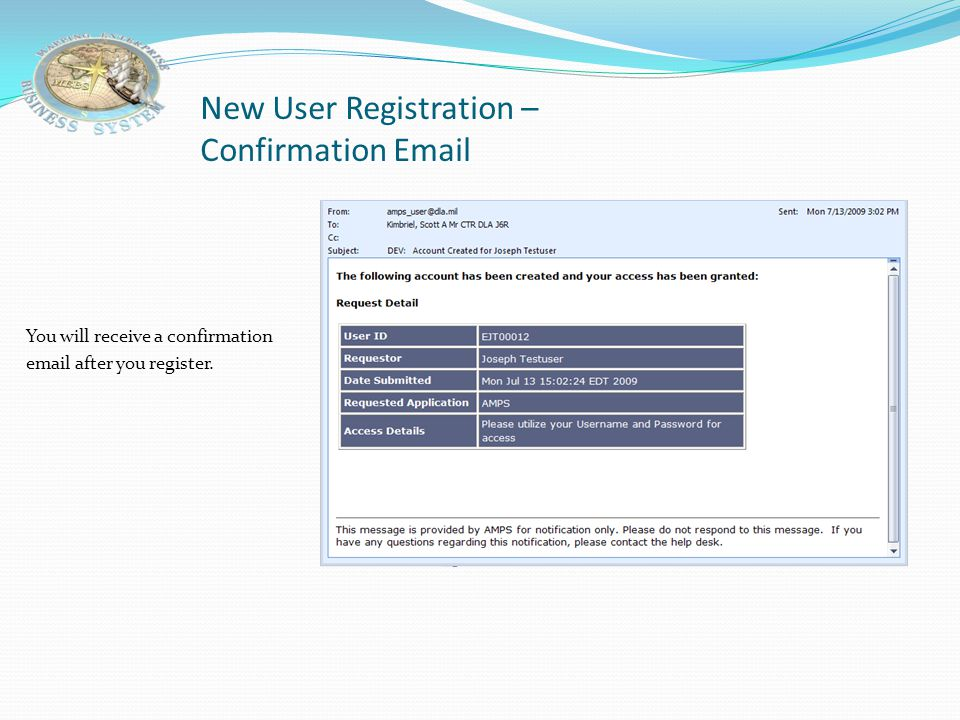 New User Registration – Confirmation Email