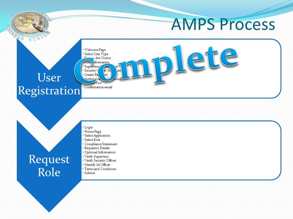Complete AMPS Process User Registration Welcome Page Select User Type