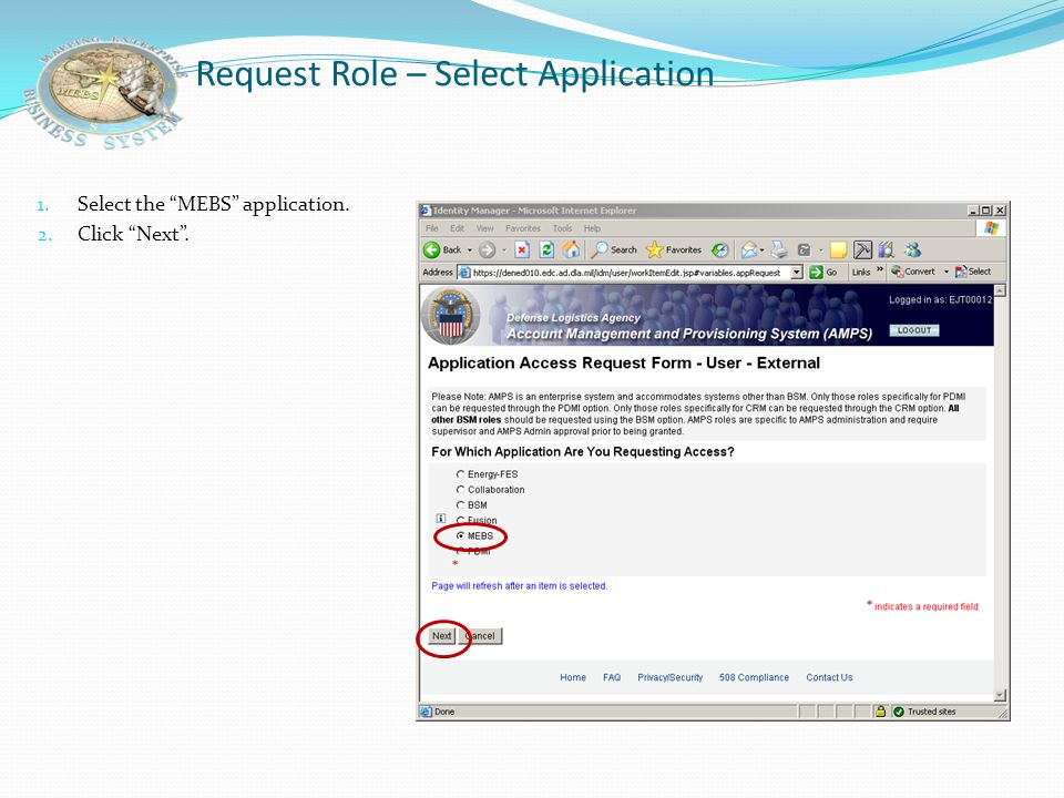 Request Role – Select Application