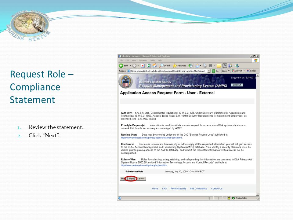 Request Role – Compliance Statement