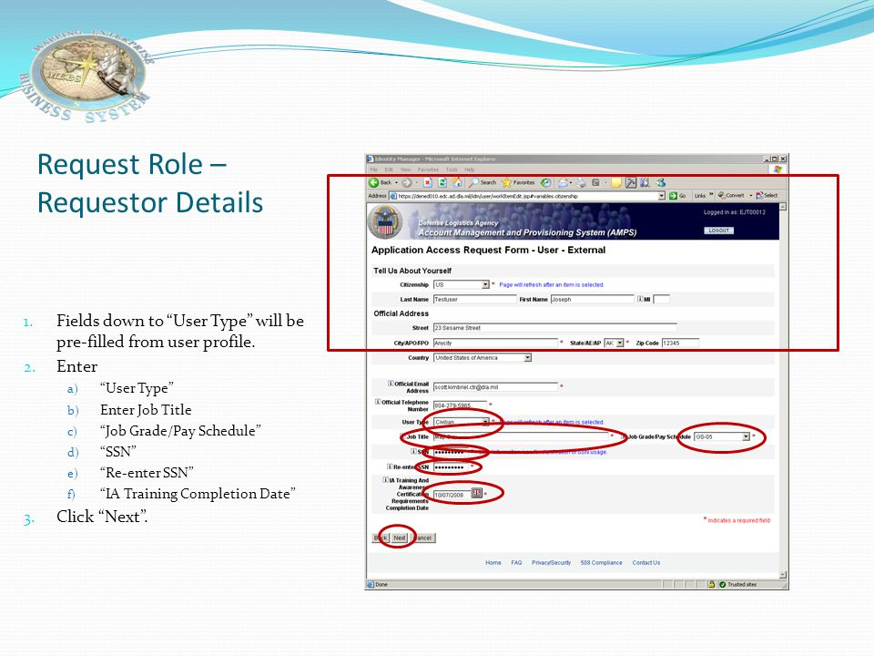 Request Role – Requestor Details