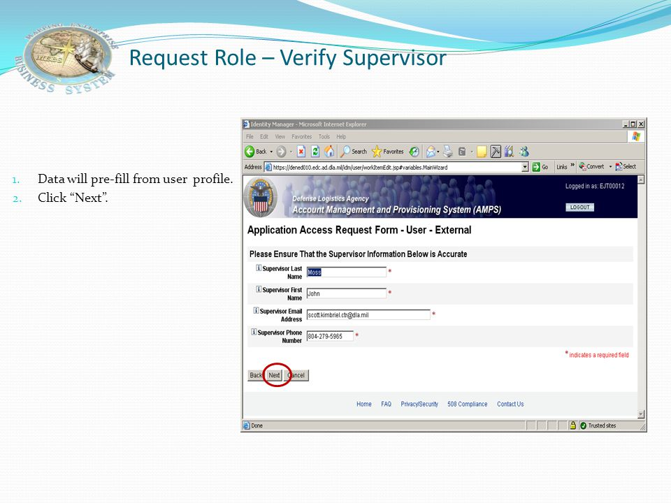 Request Role – Verify Supervisor