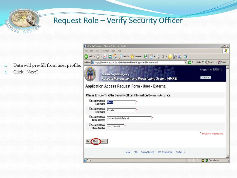 Request Role – Verify Security Officer