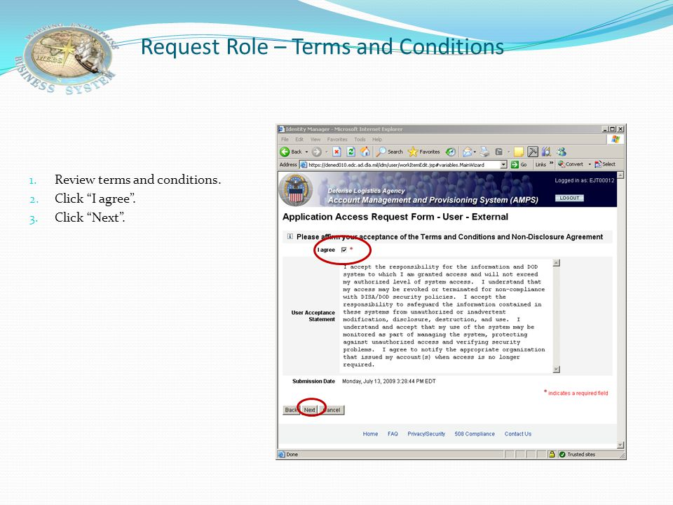 Request Role – Terms and Conditions