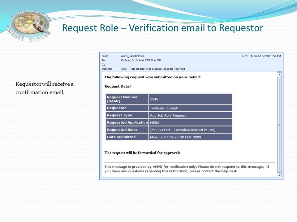Request Role – Verification email to Requestor