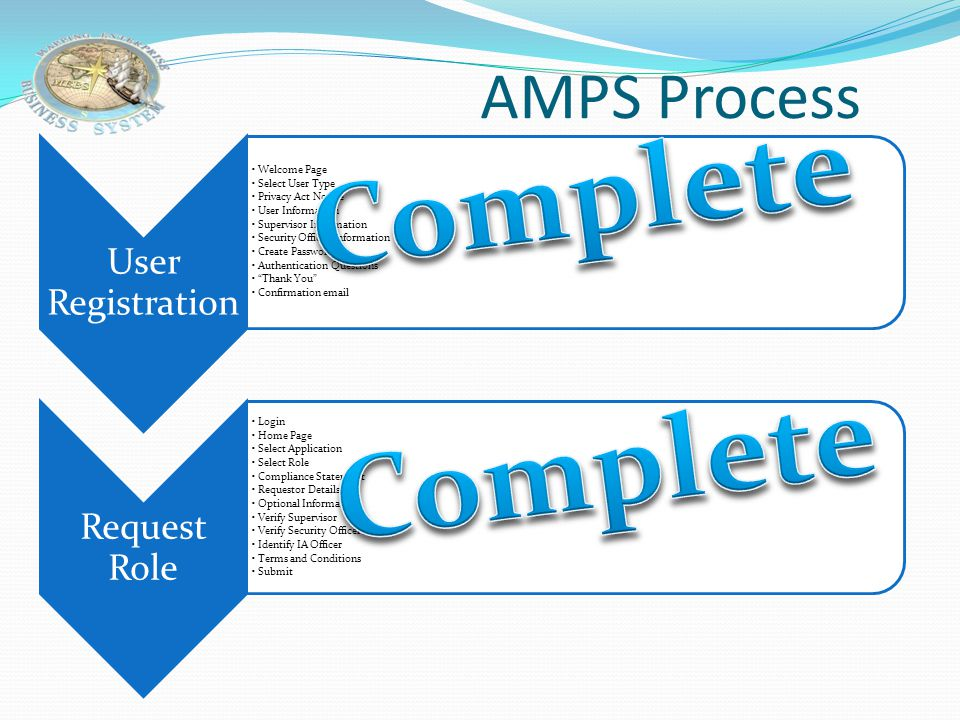 Complete Complete AMPS Process User Registration Welcome Page