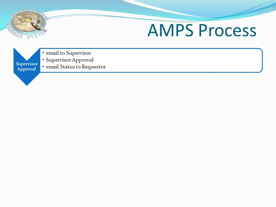 AMPS Process Supervisor Approval email to Supervisor