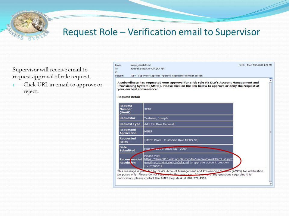 Request Role – Verification email to Supervisor