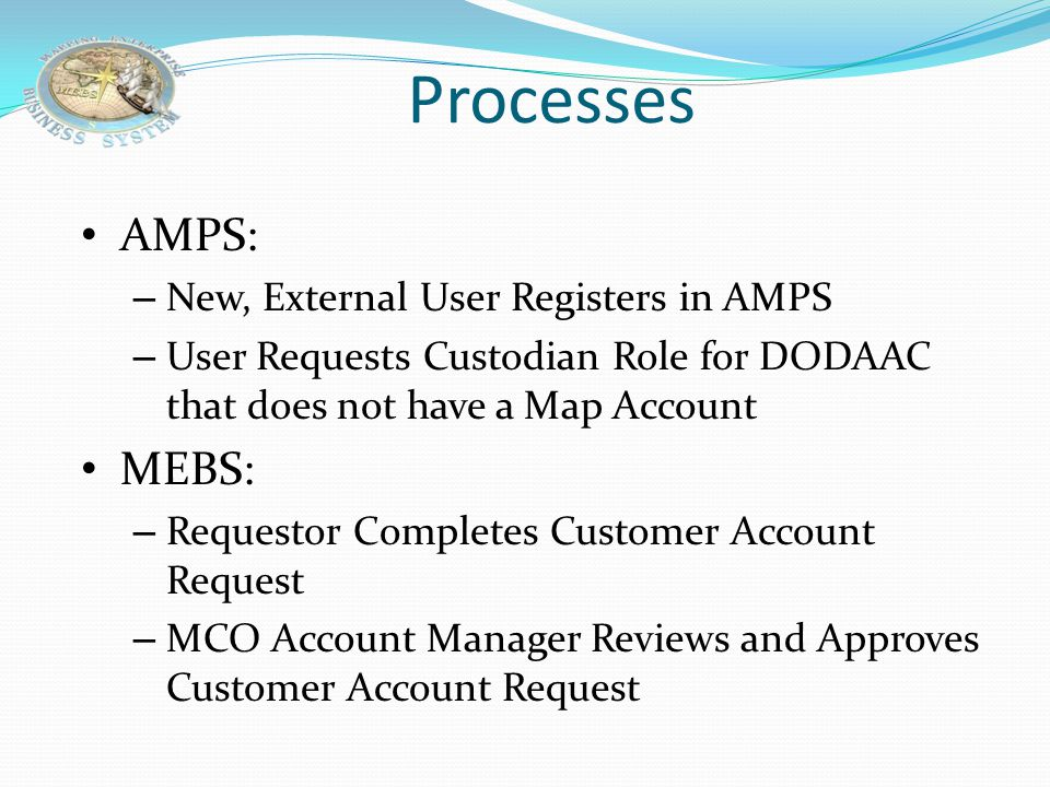Processes AMPS: MEBS: New, External User Registers in AMPS