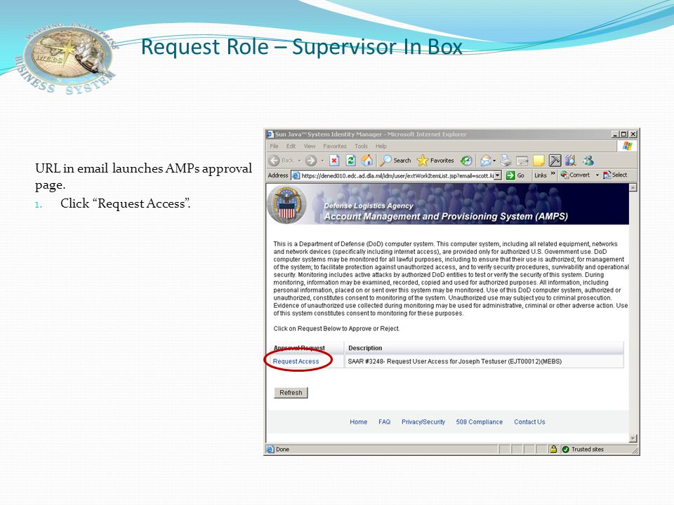 Request Role – Supervisor In Box