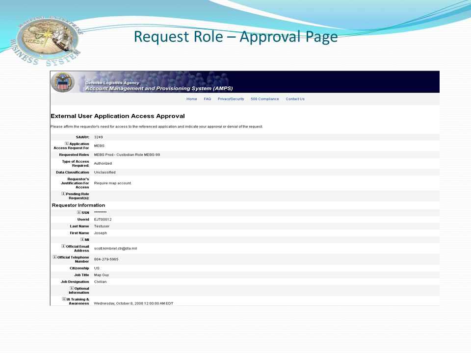 Request Role – Approval Page