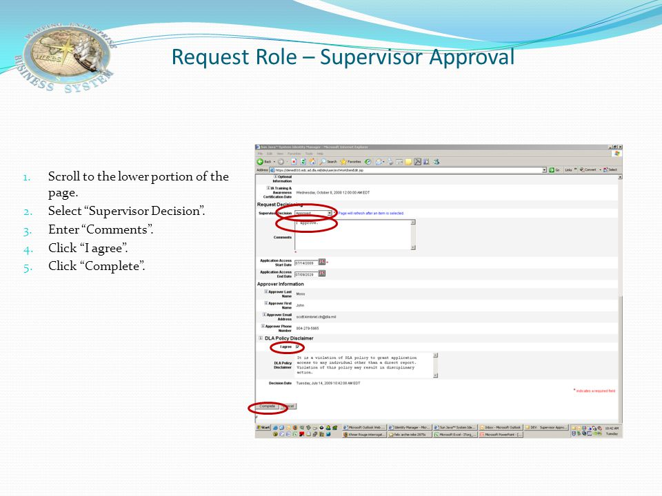 Request Role – Supervisor Approval