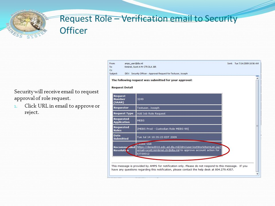 Request Role – Verification email to Security Officer
