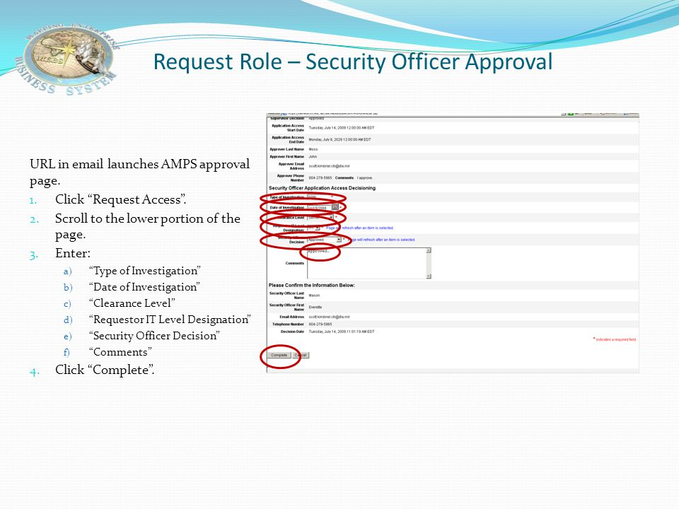 Request Role – Security Officer Approval