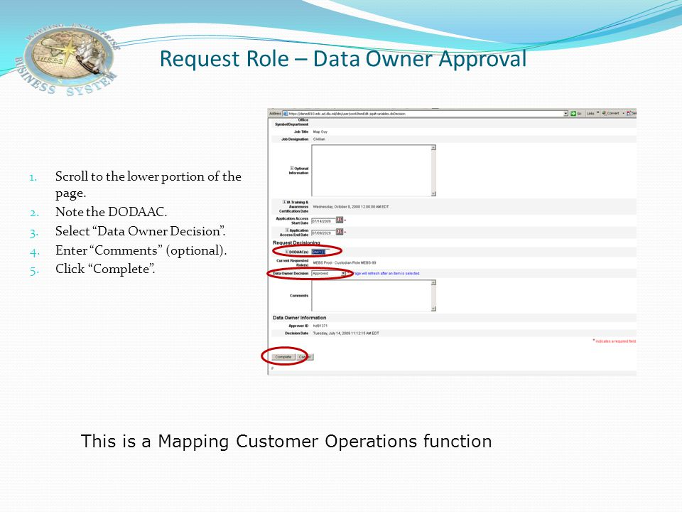 Request Role – Data Owner Approval