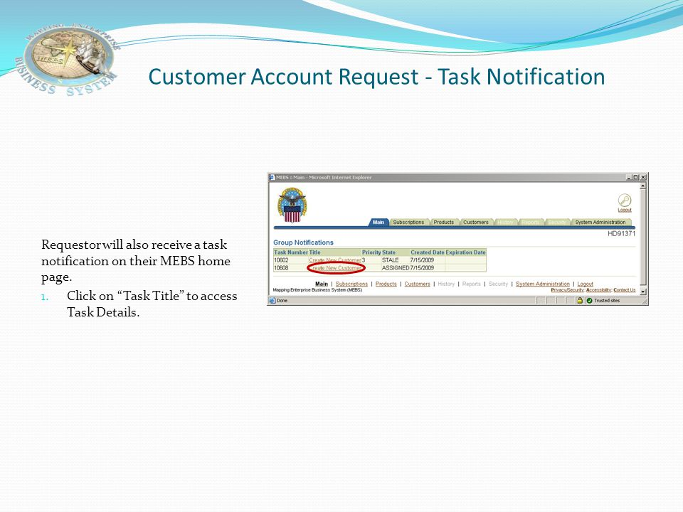 Customer Account Request - Task Notification