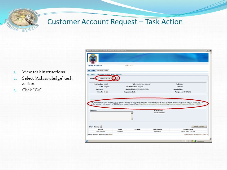 Customer Account Request – Task Action