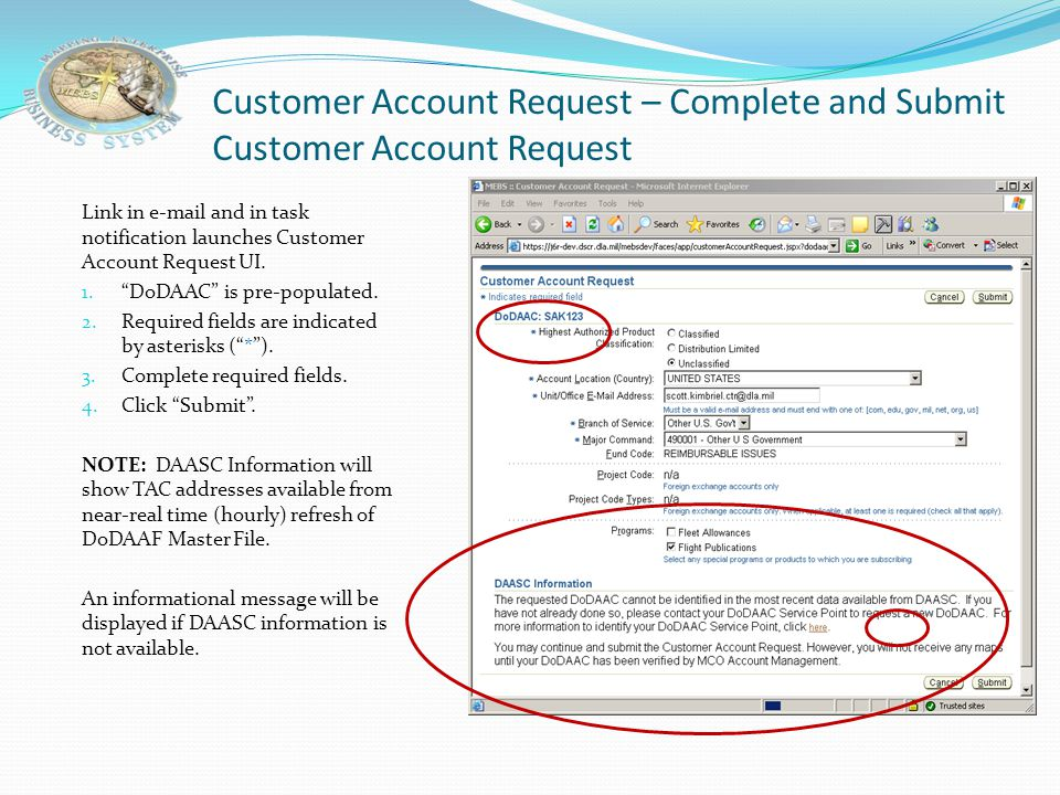 Customer Account Request – Complete and Submit Customer Account Request