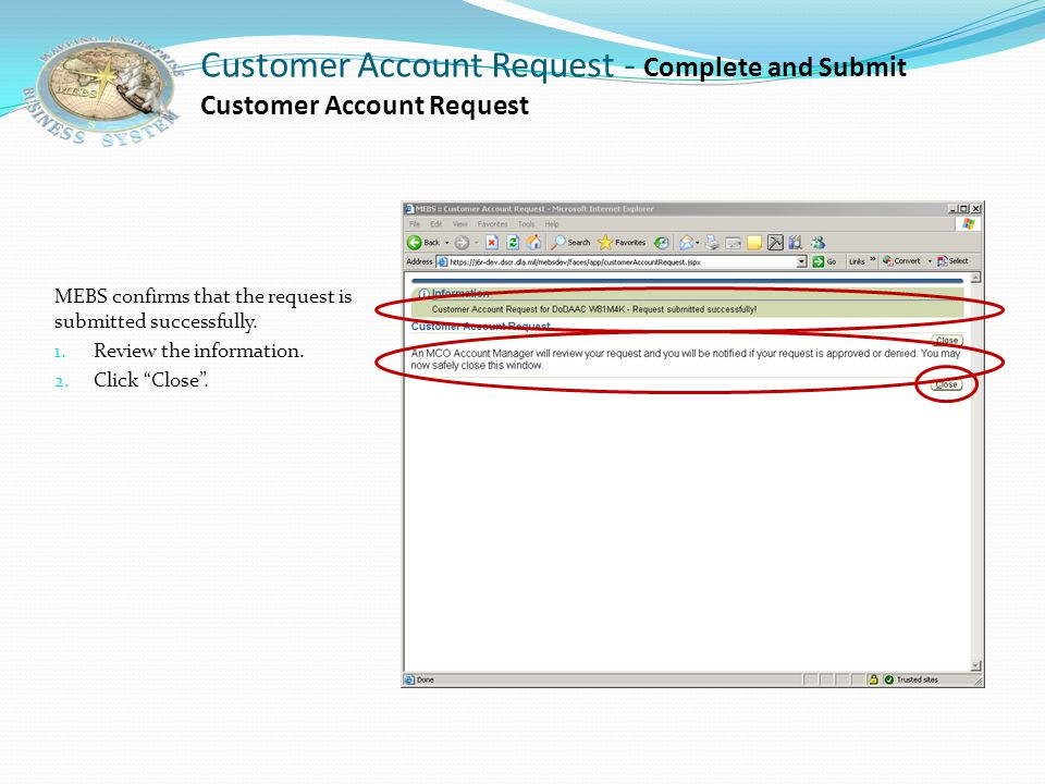 Customer Account Request - Complete and Submit Customer Account Request