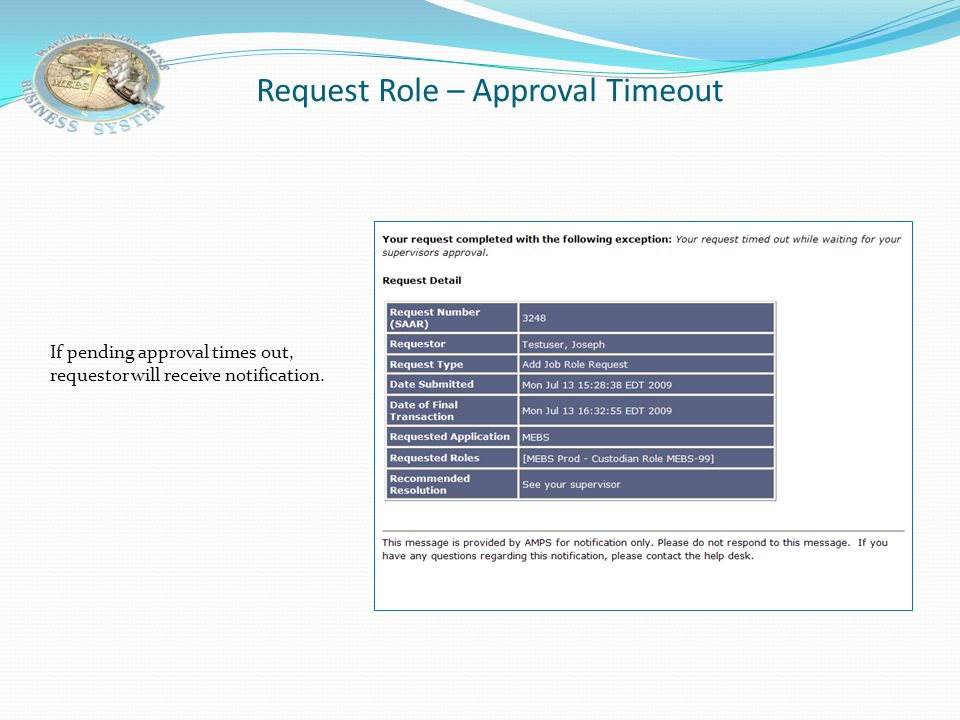 Request Role – Approval Timeout