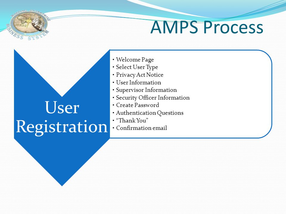 AMPS Process User Registration Welcome Page Select User Type