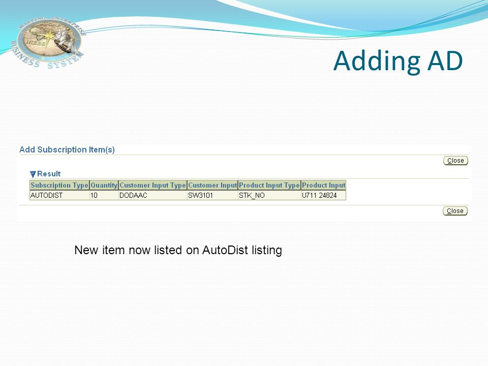 Adding AD New item now listed on AutoDist listing