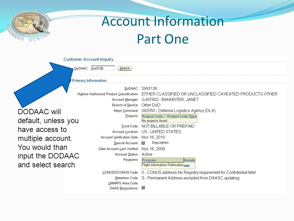 Account Information Part One