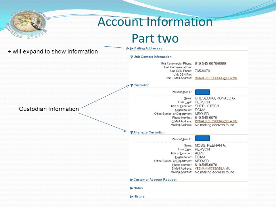 Account Information Part two