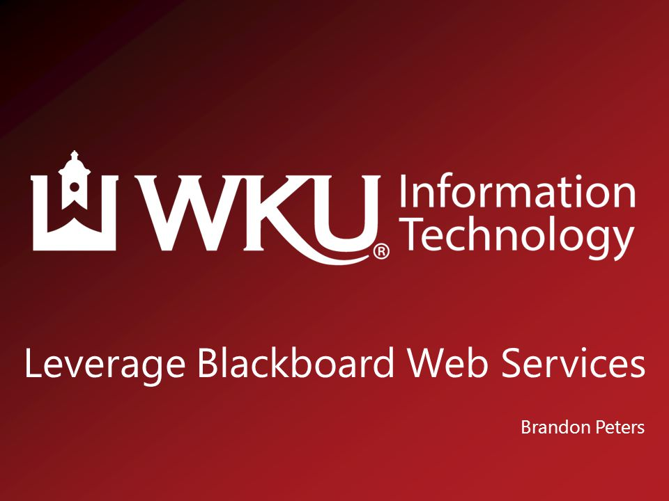 Leverage Blackboard Web Services