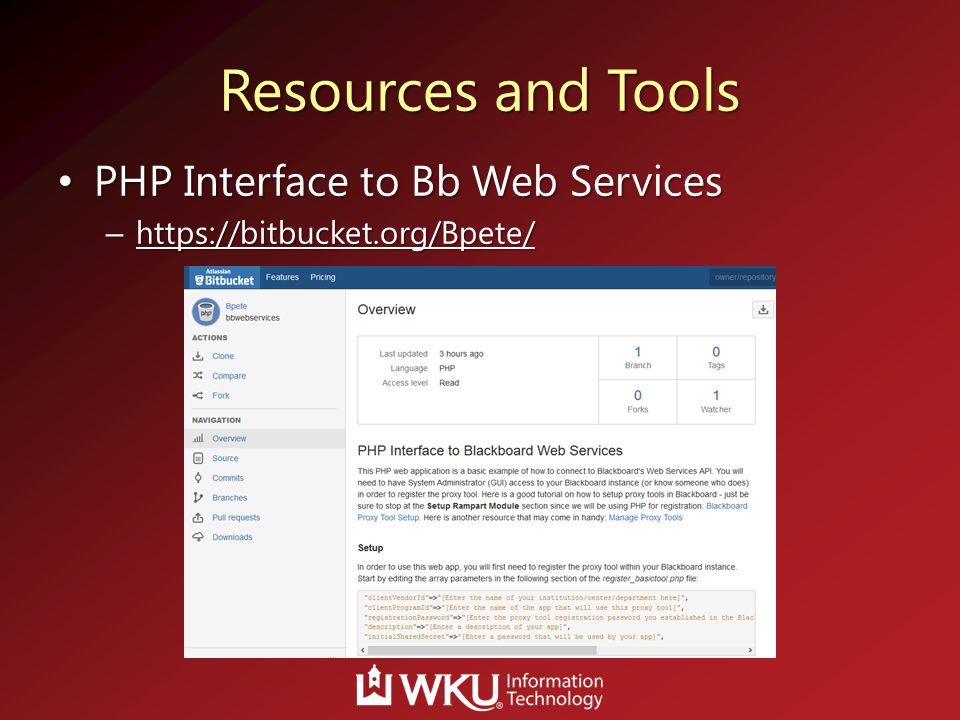 Resources and Tools PHP Interface to Bb Web Services