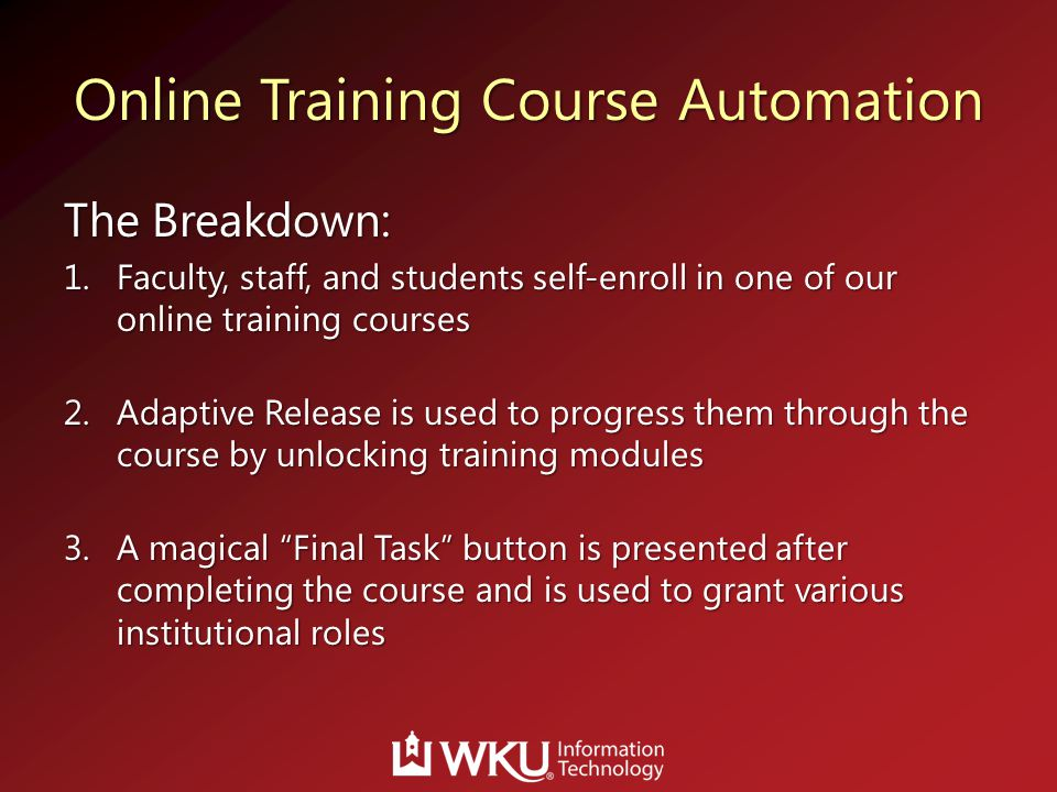 Online Training Course Automation
